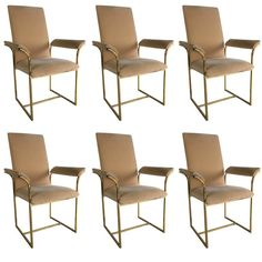 Set of Six Brass Frame Dining Chairs by Milo Baughman | From a unique collection of antique and modern dining room chairs at https://www.1stdibs.com/furniture/seating/dining-room-chairs/