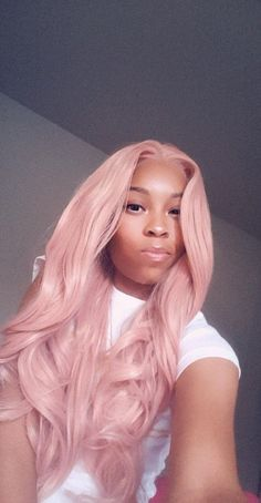 Dusty Rose Pink Realistic Synthetic Lace Front Wig Middle Part Natural Long Body Wave Synthetic Wigs Short Hair Wigs, Human Hair Wigs, Short Hair Styles, Pink Ombre Hair, Pink Wig, Black Girl Pink Hair, Hair Colorful, Stylish Short Hair, Colored Wigs
