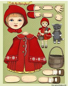 Red riding hood articulated paper dolls | cart before the horse