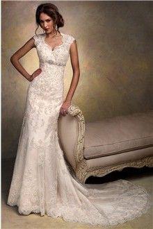 Sheath/Column Queen Anne Chapel Train Lace Wedding Dress