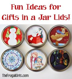 Fun Ideas for Gifts in a Jar Lids! ~ from TheFrugalGirls.com {you'll love these quick and simple ideas for seriously cute lids when giving Gifts in a Jar!} #masonjars
