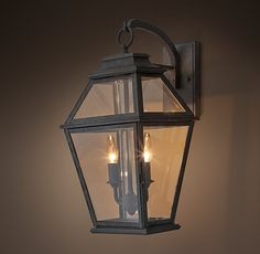 RH& Cambridge Sconce - Large:The frame of our Cambridge Sconce holds candlestick-style bulbs behind clear glass panes. Outdoor Party Lighting, Backyard Lighting, Porch Lighting, Exterior Lighting, Home Lighting, Lighting Design, Lighting Ideas, Front Door Lighting, Kitchen Lighting