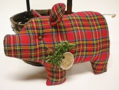Made To Order  Christmas Pig Red Plaid Fabric by PearcesCraftShop