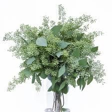 Wedding Flower Selections via Kistner's  - seeded eucalyptus (In Everything - bouquet, boutonnieres, corsages, candelabras, altar, pews, guest book, reception, centerpieces..)