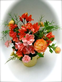 Floral Arrangement with Peach, Coral and Pink Flowers in Yellow Watering Can,Table Arrangement, Centerpiece Summer Floral  About this Product:
