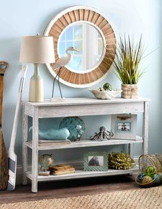 Coastal Style Decor - Wherever you're located, it's important to update your space for a new year! The 'Whitewash Double Shelf Console Table' is the perfect refresher for your coastal style. Seaside Style, Beach Cottage Style, Coastal Cottage, Beach House Decor, Coastal Style, Home Decor, Beach Apartment Decor, Modern Beach Decor, Coastal Farmhouse