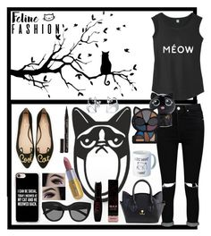 """Check meow't #catlady"" by la-fraser-1 ❤ liked on Polyvore featuring Kate Spade, Casetify, Le Specs, Boohoo, Smith & Cult, Forever 21 and Bling Jewelry"
