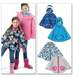 Girls Fleece Poncho (McCall's Poncho Crochet, Fleece Poncho, Poncho Coat, Love Sewing, Sewing For Kids, Baby Sewing, Sewing Tips, Sewing Projects, Poncho Pattern Sewing