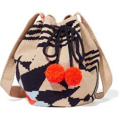 Sophie Anderson Lilla crocheted cotton shoulder bag ($400) ❤ liked on Polyvore featuring bags, handbags, shoulder bags, neutrals, crochet purse, neon handbags, cotton shoulder bag, beach handbags and shoulder bag handbag