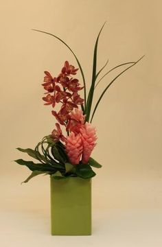 Ginger and Cymbidium Orchids by guadalupe