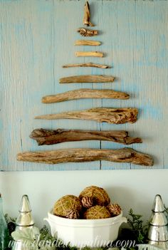 Simple Driftwood Wall Tree on Wood: http://beachblissliving.com/beach-christmas-mantel/