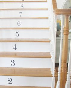 I decided recently my stairs needed a little something of a lift. I have always loved the way numbers look on a staircase going up. I thought it would add that… Stairs To Heaven, Basement Steps, Painted Stairs, Pretty Room, Little Girl Rooms, Stairways, Home Projects, Ladder Decor, Home Goods