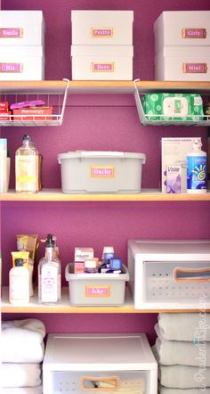 Bathroom closet organization plus 2014 Pantone Color of the Year - Radiant Orchid