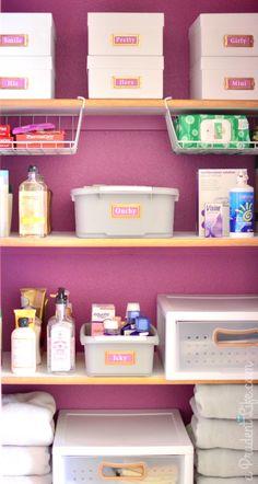 Bathroom closet organization plus 2014 Pantone Color of the Year - Radiant Orchid