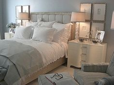 I love how soft this room feels! I need to go out and get ivory sheets for my bedroom!