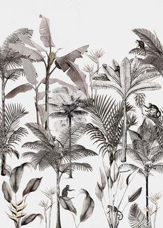 Vintage Style Wallpaper, Grey Wallpaper, Nature Wallpaper, Pattern Wallpaper, Tropical Wallpaper, Tropical Style, Burke Decor, All Wall, Grafik Design