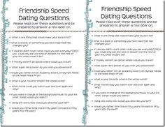 Speed dating conversation cards for parties
