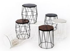 Duo Miti stool/side table. Powder coated steel with an optical wooden top.