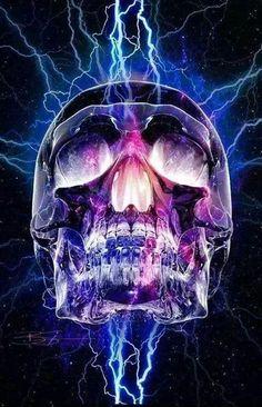 Colorful Skull getting Electrocuted Tattoo Caveira, Skull Pictures, Arte Obscura, Skull Wallpaper, Snake Wallpaper, Skull Artwork, Sugar Skull Art, Sugar Skulls, Ink Art
