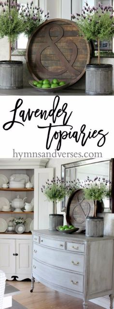 I don't care for the lavender topiaries but I love the rustic ampersand tray!