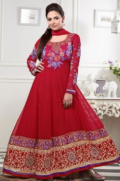 Red Color Gorgeous Long Anarkali Salwar Kameez
