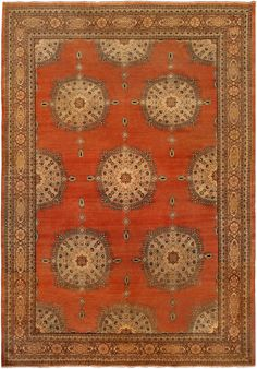 Antique Persian Rug Carpet with red ornaments. Interior living room decor with…