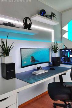 Best Gaming Setup, Computer Desk Setup, Gaming Room Setup, Pc Setup, Home Studio Setup, Home Office Setup, Home Office Design, Small Room Design, Game Room Design