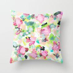 Garden+Print+floral+watercolor+pattern+art-+The+Love+We+Make+Throw+Pillow+by+Rikki+Sneddon+-+$20.00