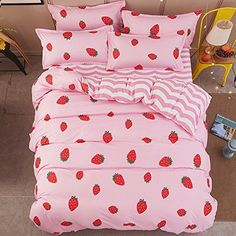 Duvet Cover Bedding Sets Full/Queen Microfiber , Pink Red Strawberry Strawberries Prints Floral Patterns Design,Without Comforter (Full/Queen, Pink Bedding Set, Cute Bedding, Girls Bedding Sets, Striped Bedding, Cheap Bedding Sets, Strawberry Beds, Flat Bed, Linen Duvet, Teenage Room Decor