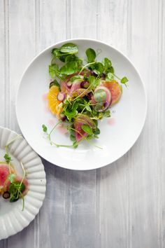 pea shoots, orange, watermelon radish and bonito tuna salad | Cannelle et Vanille