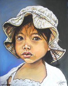 USHA, l'innocence Pastel sec sur papier abrasif 30 x 40 cm http://www.artmajeur.com/catherinewernette/