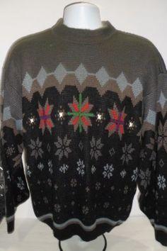 Vintage-80s-McGregor-Crew-Neck-Sweater-Gray-Snowflake-Print-Large-Ugly-EUC