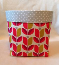 Small Cloth Storage Bin, Bright Pink And Mustard Geometric Flowers, Grey  And White Polka