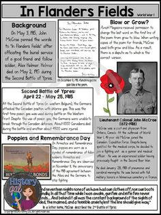"John McCrae wrote ""In Flanders Fields"" in 1915 after the Second Battle of Ypres during World War Students will learn about the poem and the author and then analyze the poem. This analysis ties in perfectly to a World War I lesson, a Remembrance Day les Remembrance Day Poems, Remembrance Day Activities, Veterans Day Activities, Remembrance Poppy, Writing Activities, Second Battle Of Ypres, Th Words, Poem Analysis, Teaching Us History"