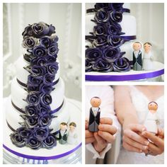 Lovely purple flowers on this cake with Love on Top toppers.