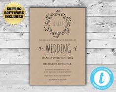 Rustic Wedding Invitation Template  Kraft Wreath by MintedMemories