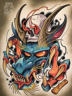 Japanese Dragon Demon With Human Skull Sketch Tattoo Design, Tattoo Sketches, Tattoo Drawings, Body Art Tattoos, Sleeve Tattoos, Tattoo Designs, Small Tattoos, Hannya Tattoo, 4 Tattoo
