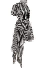 Saint LaurentDraped striped silk-georgette mini dress