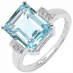 5.51CTW Genuine Blue Topaz .925 Sterling Silver Ring