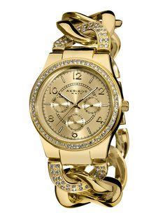 Women's Yellow Gold & Crystal Watch by Akribos XXIV on Gilt.com
