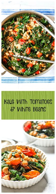 Kale With Tomatoes & White Beans. This is the perfect healthy side dish for all of your grilling this summer! It's easy and so good! Veggie Recipes Healthy, Healthy Side Dishes, Side Dishes Easy, Side Dish Recipes, Vegetable Recipes, Real Food Recipes, Great Recipes, Vegetarian Recipes, Recipe Ideas
