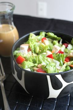 Crispy Thai Cashew Chicken Salad with Ginger Soy Dressing