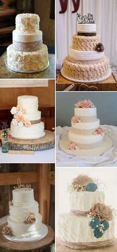 rustic-inspired-burlap-and-lace-wedding-cakes.jpg - rustic-inspired-burlap-and-lace-wedding-cakes. Wedding Decor, Rustic Wedding Colors, Rustic Wedding Reception, Floral Wedding Cakes, Fall Wedding Cakes, Wedding Cake Rustic, Wedding Cakes With Flowers, Wedding Cake Designs, Wedding Burlap