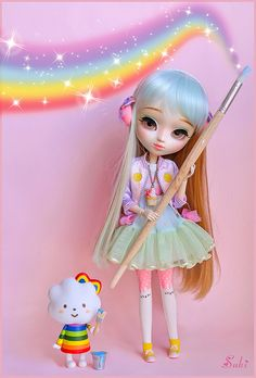 Pretty Pullip Cake Pop (custom Pullip Doll) by Suki/ Flickr via @catarinaregina sparkle rainbow doll cake queen mwah xo & love.。.:*❤