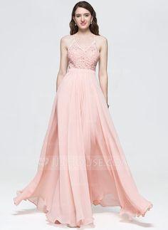 [£114.00] A-Line/Princess V-neck Floor-Length Chiffon Prom Dress With Beading Sequins