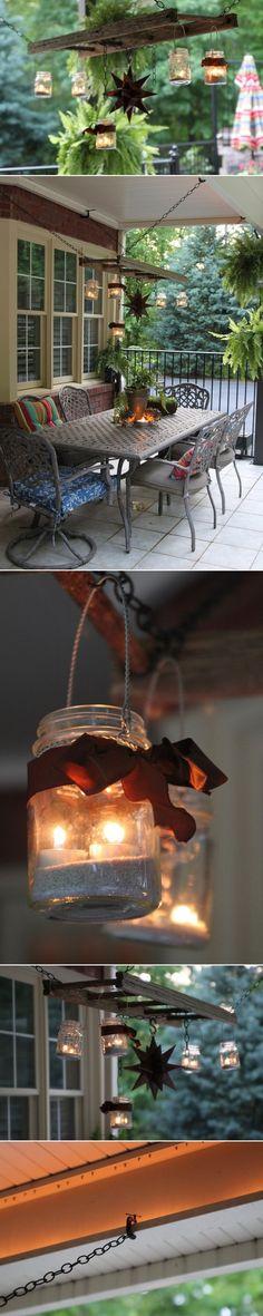 DIY Ladder Lantern Hanger