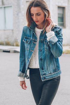 jean jacket and leather pants Jess Kirby