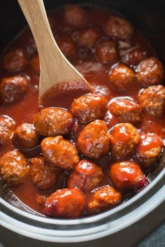 Slow Cooker Cranberry BBQ Meatballs Tastes Better From . The Best Slow Cooker Meatballs Serious Eats. Cranberry BBQ Crockpot Meatballs The Chunky Chef. Cranberry Meatballs, Bbq Meatballs, Crock Pot Meatballs, Jelly Meatballs, Cranberry Sauce, Healthy Crockpot Recipes, Meat Recipes, Slow Cooker Recipes, Cooking Recipes