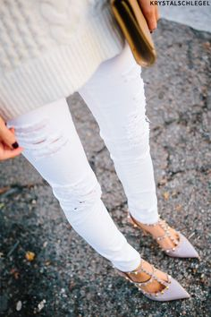 How To Work Winter White Denim with the most amazing shoes..