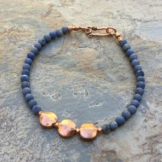 Lapis and Copper Bracelet, Men's Bracelet, Unisex Bracelet, Choose your size. by EastVillageJewelry on Etsy